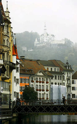 Chateau Digital Art - Rainy Day In Lucerne by Linda  Parker