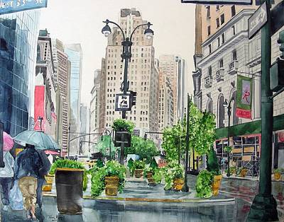Rainy Day In New York Art Print by Tom Riggs