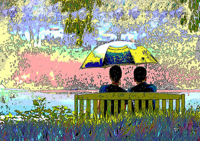 Mixed Media - Rainy Day In The Park by Charles Shoup