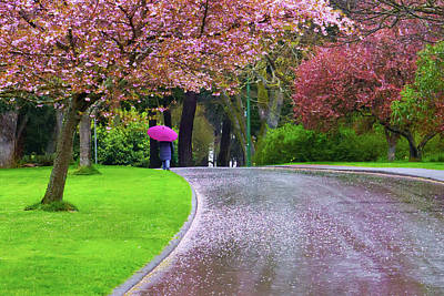 Rainy Day In The Park Art Print