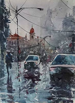 Grande Painting - Rainy Day by Maroo Art