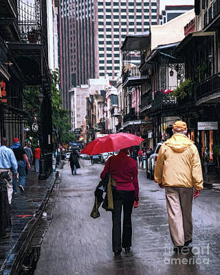 Photograph - Rainy Day New Orleans - Painted by Kathleen K Parker