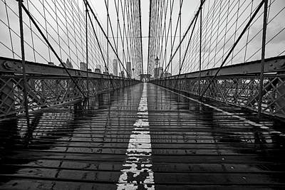 Photograph - Rainy Day On The Brooklyn Bridge Brooklyn New York Cables Black And White by Toby McGuire