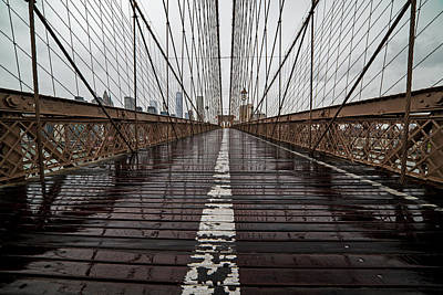 Photograph - Rainy Day On The Brooklyn Bridge Brooklyn New York Cables by Toby McGuire