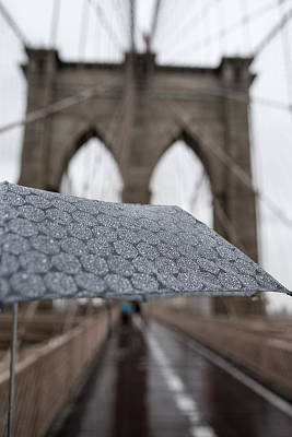 Photograph - Rainy Day On The Brooklyn Bridge Brooklyn New York Cables Umbrella by Toby McGuire