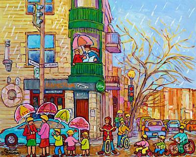 Painting - Rainy Day Painting Montreal City Scene Inspecteur Epingle Resto Bar Kids Umbrellas Family Fun Art by Carole Spandau