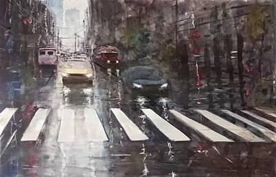 Rainy Day Mixed Media - Rainy Day - Street Scene by Maroo Art