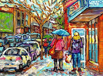 Painting - Rainy Day Stroll Couche Tard Wellington Verdun Streetscene Painting C Spandau Artist Montreal Art    by Carole Spandau