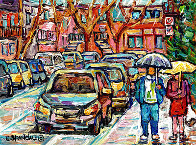 Couples Painting - Rainy Day Stroll Verdun Street Scene Canadian Painting Walking The Neighborhood Quebec Art C Spandau by Carole Spandau