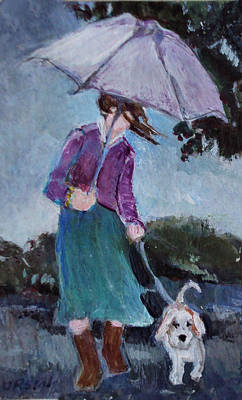 Painting - Rainy Day Walk With A Friend by Diane Ursin