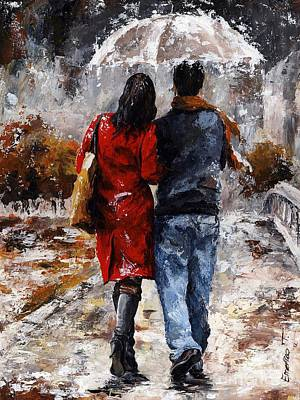 Positive Painting - Rainy Day - Walking In The Rain by Emerico Imre Toth