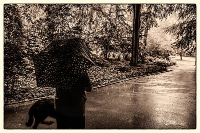 Art Print featuring the photograph Rainy Day - Woman And Dog by Madeline Ellis