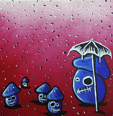 Creepy Mixed Media - Rainy Day Zombie Mushrooms by Jera Sky