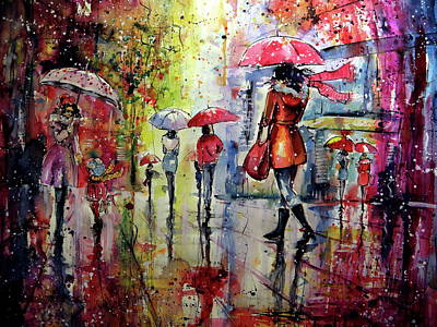 Painting - Rainy Days Again II Cd by Kovacs Anna Brigitta