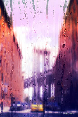 Digital Art - Rainy Days In New York - The Brooklyn Bridge by Serge Averbukh