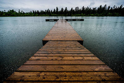 Print featuring the photograph Rainy Dock by Darcy Michaelchuk