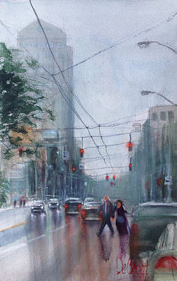 Rainy Downtown Dayton Day Art Print