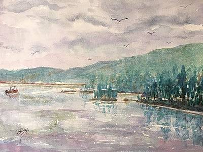Painting - Rainy Day At Lake George Ny by Ellen Levinson