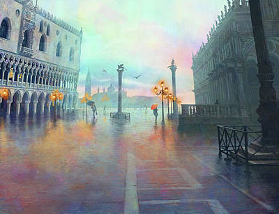 Digital Art - Rainy Evening In Venice by Stephanie Shimerdla