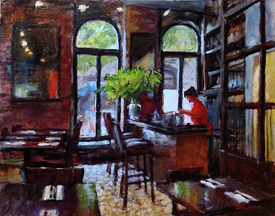 Painting - Rainy Morning In The Restaurant by Peter Salwen
