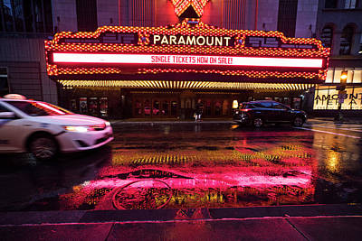 Photograph - Rainy Night At The Paramount Boston Ma Washington Street by Toby McGuire