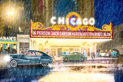 Photograph - Rainy Night Entertainment - Chicago 1949 by Mark E Tisdale