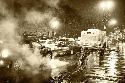 Photograph - Rainy Night In Boston Ma Steamy Street Sepia by Toby McGuire