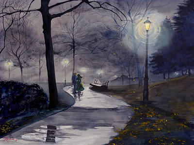 Rainy Night In Central Park Art Print