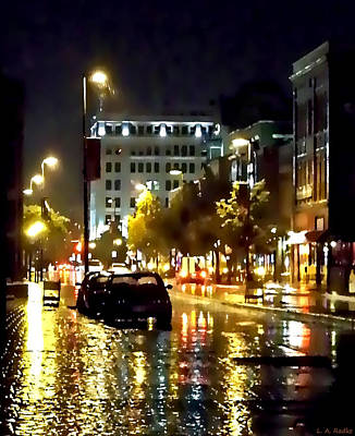 Rainy Night In Green Bay Art Print