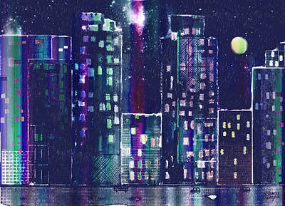 Rainy Night In The City Print by Arline Wagner