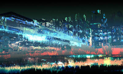 Rain Digital Art - Rainy Night In Tinseltown by Carol and Mike Werner
