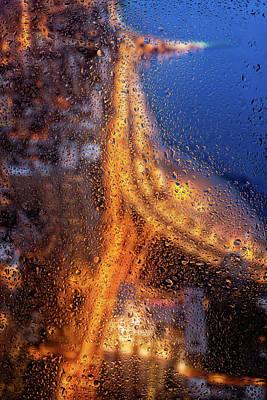 360 Wall Art - Photograph - Rainy Night Lakeshore Drive Chicago by Steve Gadomski