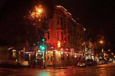 Night Photograph - Rainy Night San Francisco by April Bielefeldt