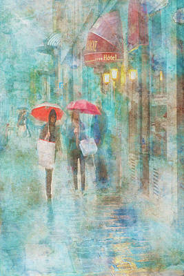 Digital Art - Rainy In Paris 4 by Ramona Murdock