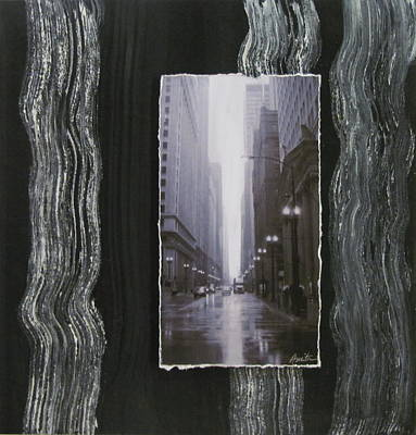 Mixed Media - Rainy Street Layered by Anita Burgermeister