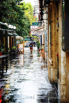 rainy streets of Rome Art Print by HD Connelly