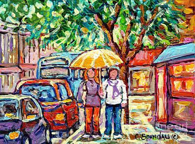 Painting - Rainy Verdun Streets Painting Yellow Umbrella Walking By Shops Canadian Artist Carole Spandau Quebec by Carole Spandau