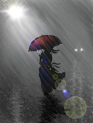 Digital Art - Rainy Walk by Darren Cannell