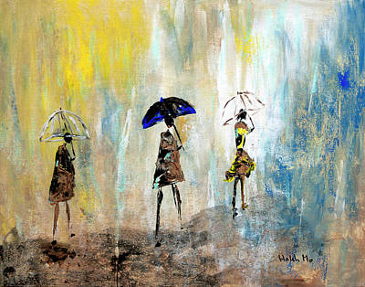 Painting - Rainydaywalk by Haleh Mahbod