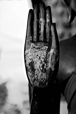 Photograph - Raised Buddha Hand - Black And White by Dean Harte