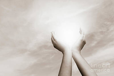Creativity Photograph - Raised Hands Catching Sun On Cloudy Sky. Concept Of Spirituality, Wellbeing, Positive Energy by Michal Bednarek