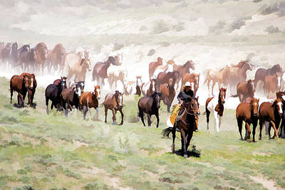 Digital Art - Raising Dust On The Great American Horse Drive In Maybell Colorado by Nadja Rider