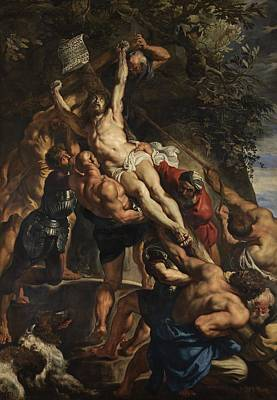 Agony Painting - Raising Of The Cross by Peter Paul Rubens