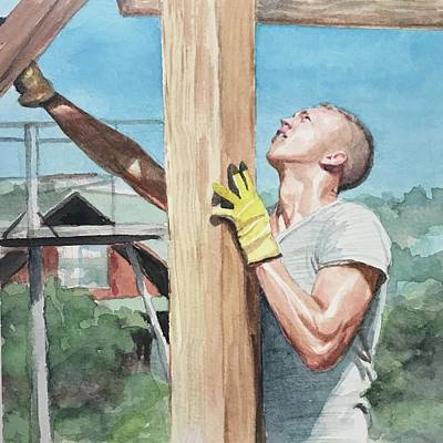 Painting - Raising The Beam by Emily Olson