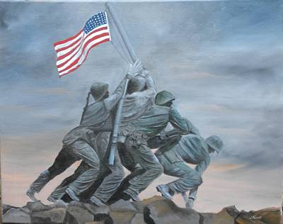 Raising The Flag At Iwo Jima Art Print by Marti Idlet