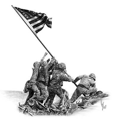 Iwo Jima Drawing - Raising The Flag by Bobby Shaw