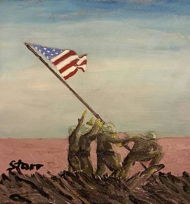 Raising The Flag On Iwo Jima  Original by Irving Starr