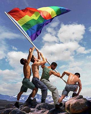 Painting - Raising The Rainbow Flag by Troy Caperton