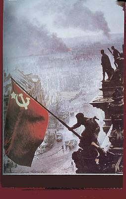 Shark Art - Raising the Soviet flag  on the Reichstag Building Berlin Germany May 1945 by David Lee Guss