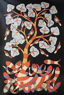 Gond Art Painting - Raj 109 by Rajendra Kumar Shyam